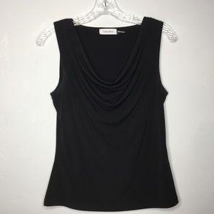 Calvin Klein Draped Neckline Black top Small